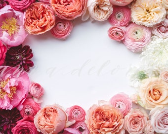 Styled Stock Photo, Flower Stock Product Photography, Floral Wreath Garland, Peony, Ranunculus, Flower Border, Flowers Custom Stock Photos
