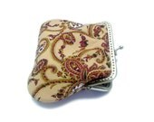 Coin Purse - Large coin purse - Paisley Framed Clutch Purse - Antique Bronze Frame