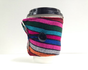 Reusable Cup Cozy -Stripes Coffee Sleeve - Mexican Drink Wrap - Eco friendly Housewares