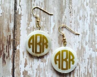 Shell Monogrammed Earrings