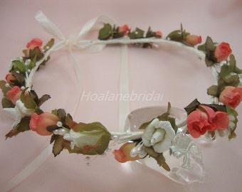 Rustic Wedding headpiece, floral halo, Bridal headpiece, bridal floral wreath.