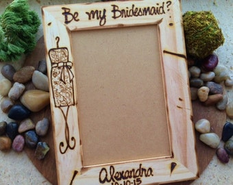 Will you Be My Bridesmaid Maid of Honor CUSTOM Wood Frames to Ask Bridal Party Wedding Day Rustic Vintage Shabby Chic Country Personalized