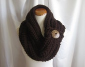 Cowl Chunky Bulky Button Crochet Cowl:  Brown with Button Accent