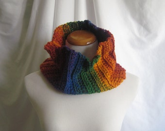 Neckwarmer Cowl Crochet - Rainbow: Orange, Purple, Green, Yellow, Blue