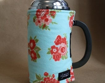 French Press Coffee Retro Turquoise and Red Flannel French Press Wrap in Turquoise Red & Pink Print