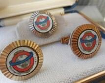 Vintage Baltimore Fire Chief Association Cufflinks & Lapel Pin. Fire Fighter Gift, Groomsmen, Wedding, Dad Gift.