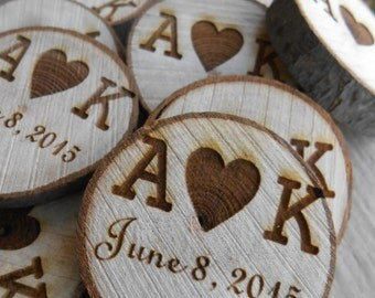 50 PERSONALIZED Initials Wood Rounds. Laser Cut, Rustic Wedding Vase Filler, Confetti. Monogram, Letter