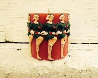Large Vintage Christmas Rockettes Candle - Dancing Women Holiday Vintage Home Decor