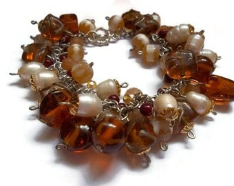 Liquidation SALE see coupons  Brown Charm Pearl Silver and Gold Bracelet