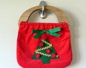Vintage Christmas Purse Handbag / Ugly Tacky Holiday Christmas Party Retro Hipster / Holiday Fashion /  Christmas Tree Pom Poms Wood Handles