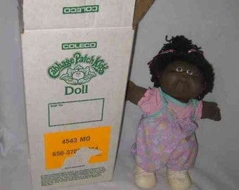 "Wonderful Vintage 12"" Black Cabbage Patch Kids Doll Coleco In Box Ema Therese"