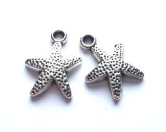 DOLLAR DEAL, Antique Silver Starfish Charm, 6 pieces, 14mm Starfish Charm, Beach Charm, Summer Charm, Vacation Charm, Julie's Bead Store
