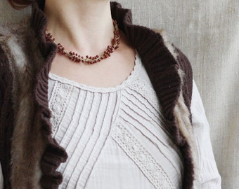 Bead crochet necklace Brown Rustic Natural linen Boho chic jewelry Gift for her For mom Bohemian style Fall Autumn fashion