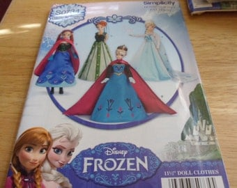 Simplicity Pattern S0734 for 11 and 1/2 inch dolls for Frozen outfits