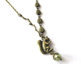 Squirrel with twig, leaves and light green pearl necklace jewelry victorian vintage style antique brass bronze woodland  squirrel charm