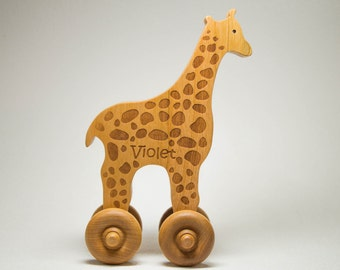 Wooden Toy Giraffe Personalized Push Toy Baby Toddler Children