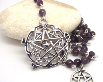 "Witches Ladder Pagan Divination ""Spell Casting"" Amethyst Pagan Prayer Beads"