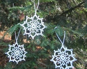 Handmade Christmas Ornaments, Set of 3 Snowflakes