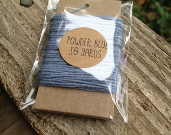10 Yards - Solid  Baker's  Twine / String • 100% Cotton • Eco Friendly • Gift Wrap • Bakery String • Powder Blue