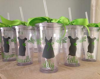 5 Personalized Bride, Bridesmaid, Flower Girl  Acrylic Tumblers with Lid and Straw