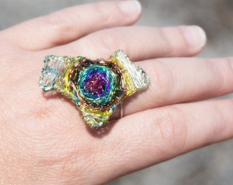 Maze ring Art Ring Wire ring Labyrinth jewelry Rainbow ring Adjustable ring Silver ring Boho jewelry Summer gift for women Unusual jewelry