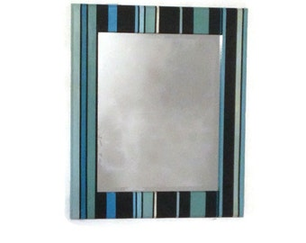 Stripe Painted Hanging Mirror, bathroom mirror, unique mirror, Blue mirror, Black Mirror, Modern Mirror, Entryway Mirror, Beach Mirror