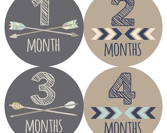 FREE GIFT, Woodland Monthly Baby Stickers Boy, Woodland Nursery Decor, Woodland Baby Month Stickers, Arrows, Chevron, Woodland, Baby Boy