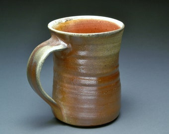 Large Brown Wood Fired Coffee Cup or Beer Stein with Red Orange Shino Liner