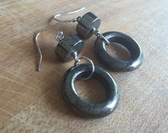 Pyrite Earrings - Sterling Silver Jewelry - Gemstone Jewellery - Fools Gold - Fashion - Mod - Funky