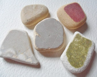 Rainbow sea pottery mix - Lovely English beach find pieces