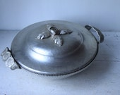 Vintage Continental Hand-Wrought Aluminum Serving Dish