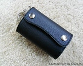 100% hand stitched handmade black top grain cowhide leather key purse / holder / case with card pouch