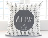"Custom Deer Throw Pillow - Personalized with Baby's Name - Decorative Baby Pillow - 16"" X 16"" Cover AND Insert"