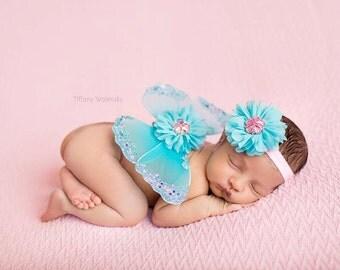 Newborn baby girls butterfly wings headband photo prop pink aqua