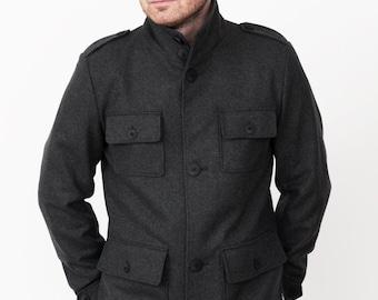 Grey Army. Military Mens Jacket.