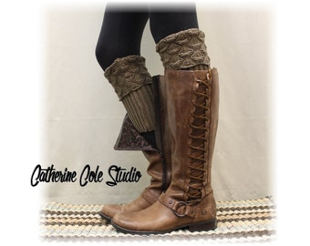 Boot cuffs SPICE SCALLOP Nutmeg boot toppers mini leg warmers ladies crochet boot cuffs knit boot cuffs womens Catherine Cole Studio BC2
