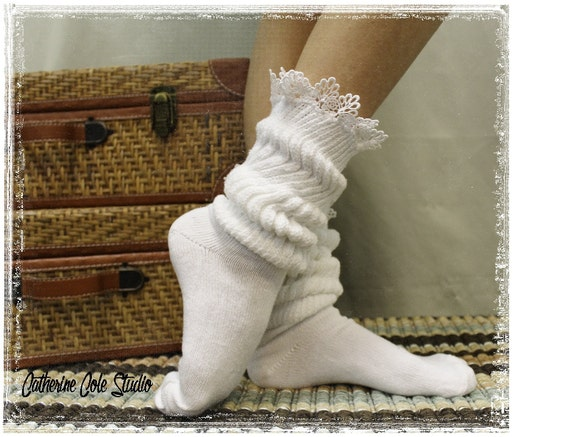 CUDDLE BUNNY in White lace socks super thick slouch socks womens socks work out socks boot cuff socks ladies lace hosiery Catherine Cole SW1