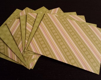 8/Eight Handmade Decorative Spring & St. Patrick's Day Papercraft/Stationary/Envelopes Size A2 - Green, Pink, Four Leaf Clover,Irish,Ireland