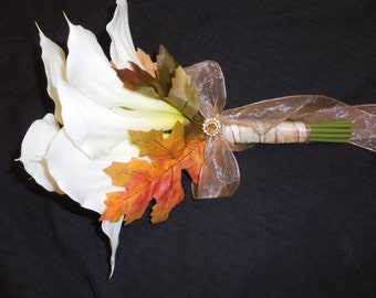 10 pc. set CALLA LILY Wedding Bouquet flowers. Persimmon Orange Brown Gold Sage Green Purple White. Lilies Hydrangea leaves Berries