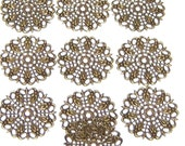 10pcs Solid Brass Filigree Medallion charms/wrappers, 25mm