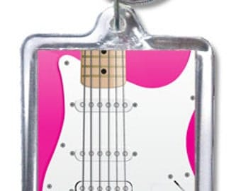 Pink Electric Guitar Double-Sided Acrylic Keychain