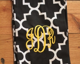 Black and White Chain Print Monogrammed Infinity Scarf