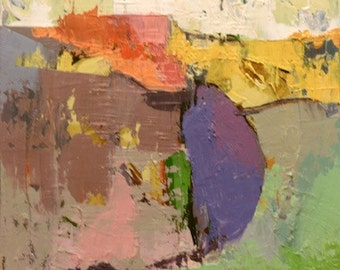 """Petrichor 72"""" Original oil landscape on canvas 9"""" x 12"""" x 1"""" Abstract, contemporary, red,blue,green, yellow SALE!!!"""