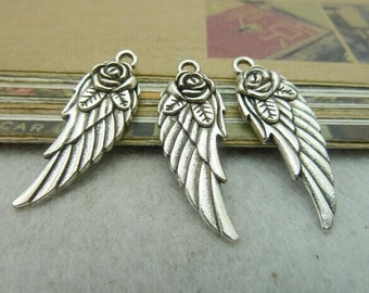 30pcs 11x31mm The Fly wings White Color Charm For Jewelry Pendant C6357
