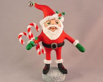 Handmade Polymer Clay Santa Claus Christmas Figurine