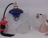 Vintage Estate Lot of 6 Perfume Bottles - Large to Small - Art Glass Frosted Embossed Crackle Cut Glass 6.50 Each - STEAL
