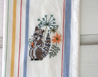 Raccoon Embroidered Floral Tea Towel, Cross stitch, Kitchen Decor