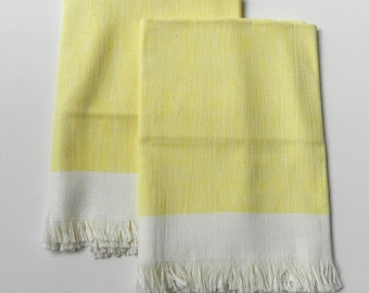 Vintage Light Yellow Buttercream Linen Blend Towels with Fringe Set of 2