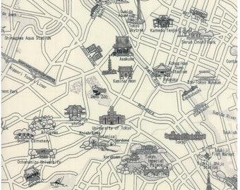 Tokyo city cotton map fabric in black and white for Moda fabric 33011 21