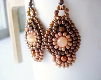 Beadwork earrings, brown earrings, dangle earrings, long earrings, beige earrings, bead embroidery earrings, large brown earrings, beadwork
